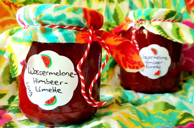 Fruchtaufstrich mit Wassermelone, Himbeere und Limette
